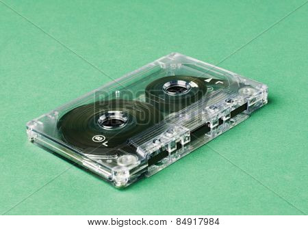 Close-up of an audio cassette