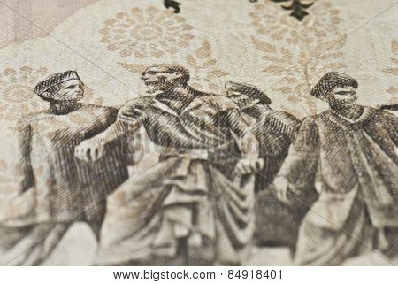 Close-up of an Indian paper currency