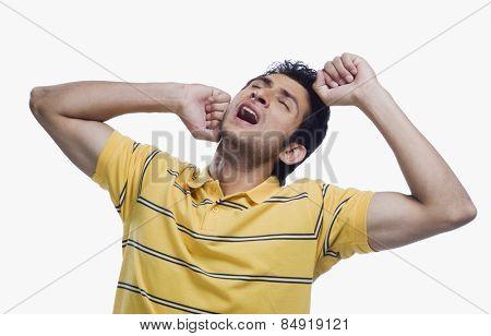 Close-up of a man suffering from a neckache
