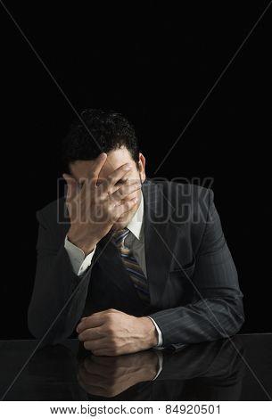 Businessman looking worried