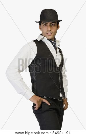 Portrait of a businessman with arms akimbo
