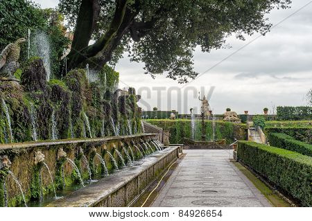Tivoli, Italy - January 28, 2010: Hundred Fountains At Villa D'este