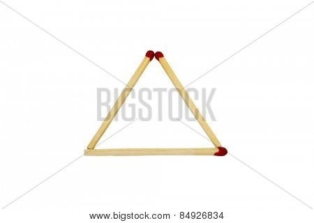 Close-up of a triangle made from matchsticks