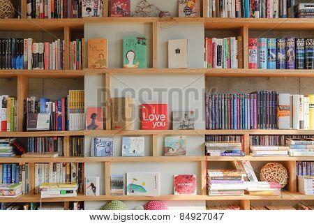 Paju, Korea - November 24, 2009: Bookself In A Bookcafe