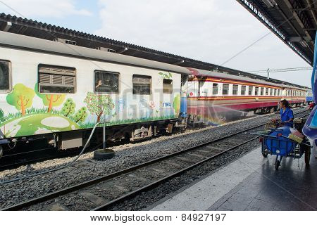 Bangkok, Thailand - December 30, 2012: Washing Train