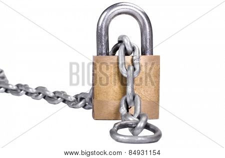 Close-up of a padlock with a chain