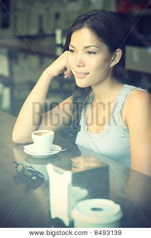 Cafe Woman Thinking