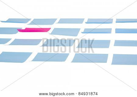 Blank adhesive notes on a white background