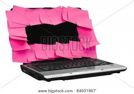 Adhesive notes attached on a laptop screen