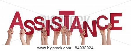 Many People Hands Holding Red Word Assistance