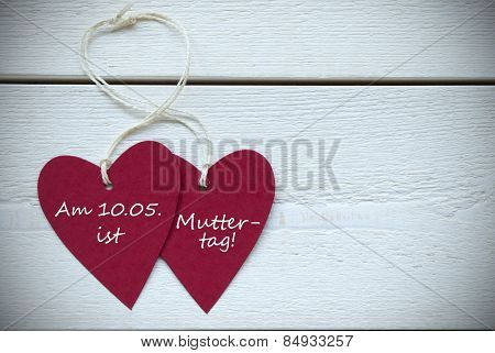 Two Hearts Label German Text Muttertag Means Mothers Day