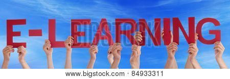 Many People Hands Holding Red Straight Word Elearning Blue Sky