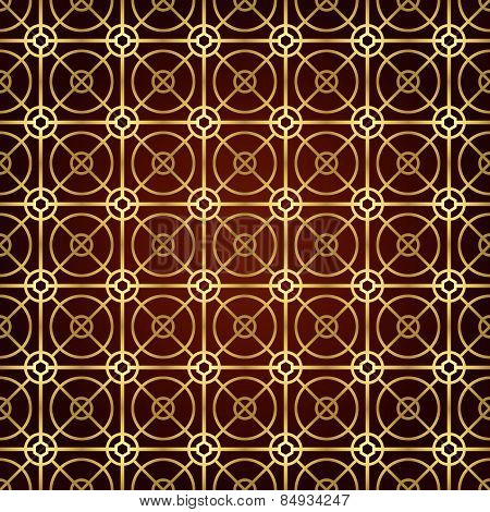 Gold Circle And Square And Hexagon Seamless Pattern