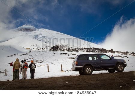 Unidentified tourists in Cotopaxi volcano, one of the world's highest volcanoes.