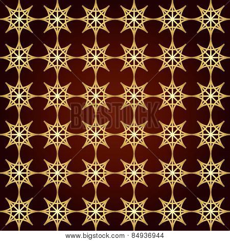 Gold Double Star And Circle Seamless Pattern On Pastel Color