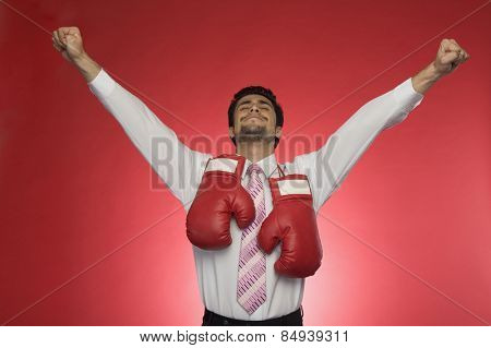 Businessman with boxing gloves clenching his fists