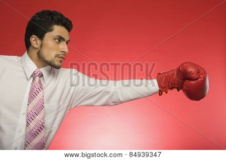 Businessman wearing boxing glove