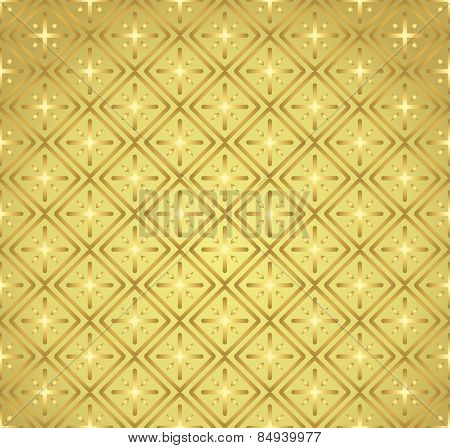Gold Plus Sign And Rectangle Seamless Pattern On Pastel Background