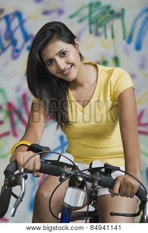 Portrait of a woman cycling