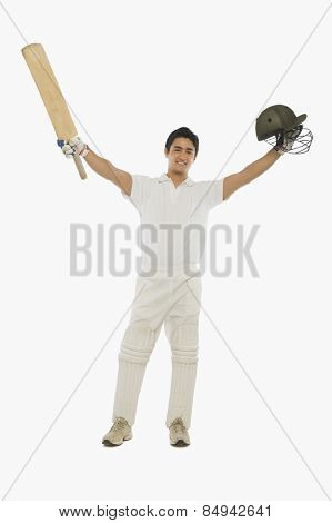 Portrait of a batsman celebrating his success