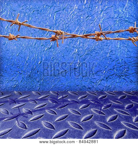 Shiny Blue Leaf  Foil Texture Background And The Damage Metal Blue Diamond Plate
