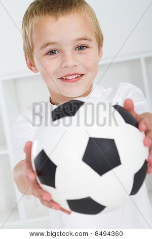 cute boy with soccer ball