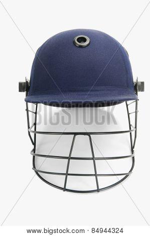 Close-up of a cricket helmet
