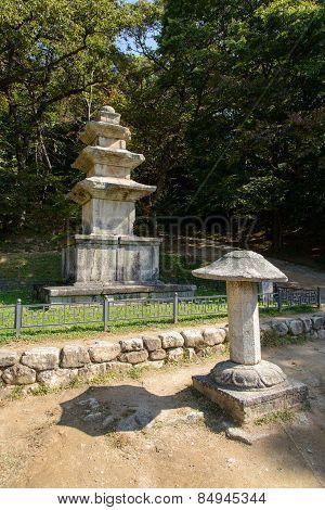 Yeongju, Korea - October 15, 2014: Three-story Stone Pagoda