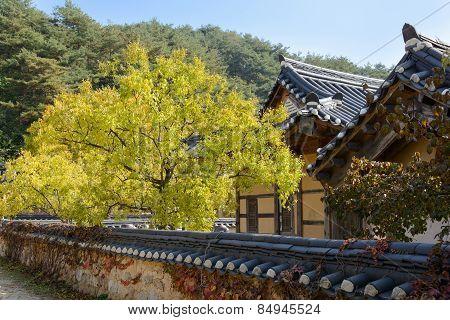 Yeongju, Korea - October 15, 2014: View Of General Korean Traditional House