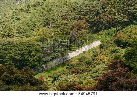 Mungyeong, Korea - October 14, 2014: The Wall Of Mungyeongsaejae Gate In Korea