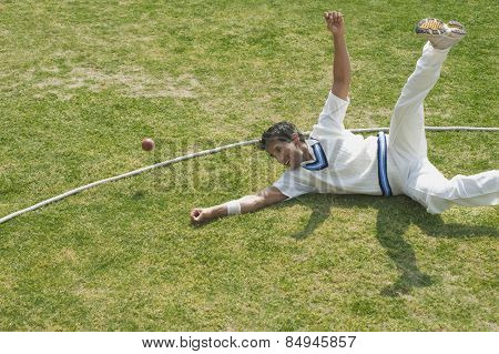 Cricket fielder diving to stop a ball near boundary line