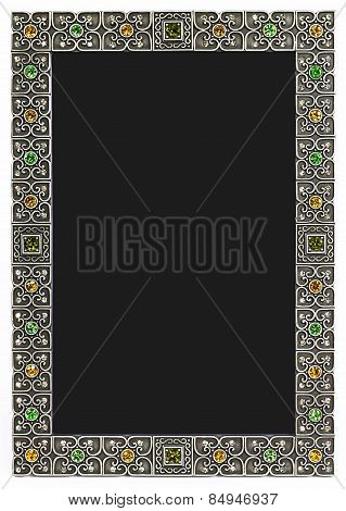 Metal frame with floral ornament and gems. Place for photo
