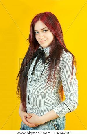 Brunette Girl Over  Yellow