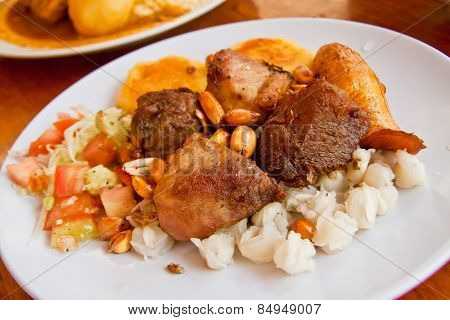 Fritada, fried pork, typical ecuadorian dish
