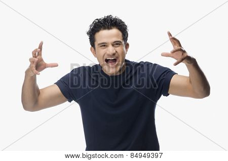 Portrait of a man screaming