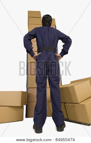 Rear view of a store manager looking at cardboard boxes