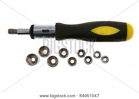 Yellow Mechanical Screwdriver With Bits. Isolated On White
