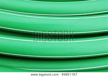 Close-up of a roll of plastic pipe, Mysore, Karnataka, India