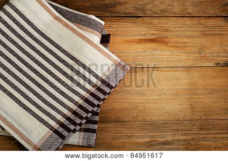 Tablecloth Textile On  A Old Wooden  Background
