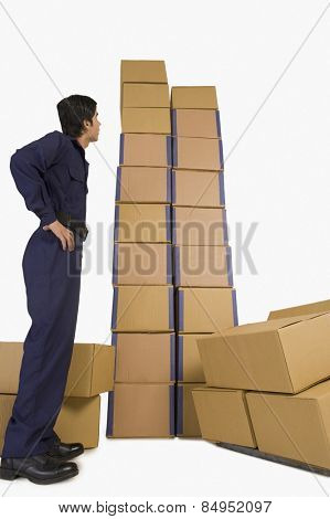 Rear view of a store incharge looking at cardboard boxes