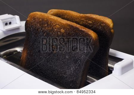 Close-up of burnt toasts in a toaster