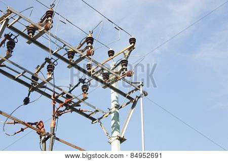 Low angle view of an electricity pylon, Tirupati, Andhra Pradesh, India