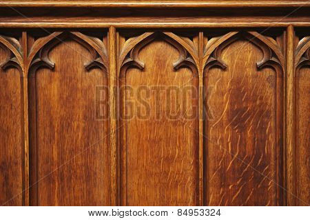Detail of a wooden panel, Oxford University, Oxford, Oxfordshire, England
