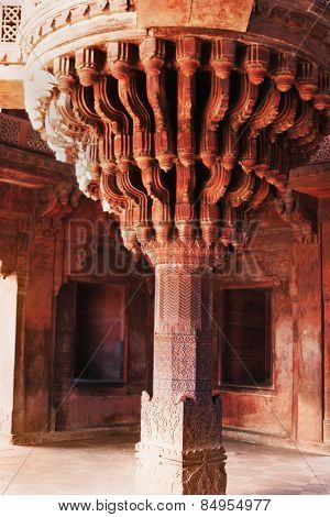 Architectural detail of central pillar of Diwan-I-Khas, Fatehpur Sikri, Agra, Uttar Pradesh, India