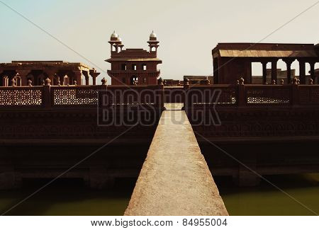 Footbridge across a pond in a palace, Fatehpur Sikri, Agra, Uttar Pradesh, India