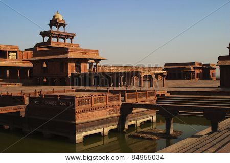 Pond in a palace, Fatehpur Sikri, Agra, Uttar Pradesh, India