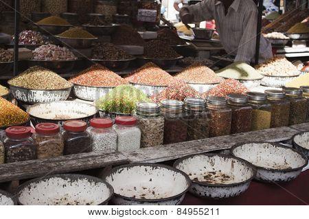 Snacks at a market stall, Ahmedabad, Gujarat, India