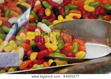Close-up of multi-colored jellybeans at a market stall
