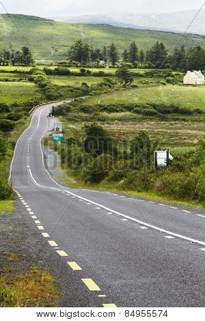 Road passing through fields, Ring Of Kerry, County Kerry, Republic of Ireland