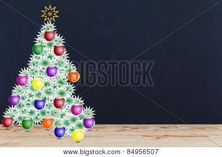 Festive Christmas Tree On Blackboard Background